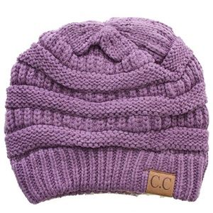C.C Cable Knit Solid Beanie-HAT-20A_VIOLET